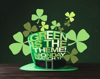 Close up view of green hat on wooden surface and green is the theme, monday. March 17 lettering royalty free illustration
