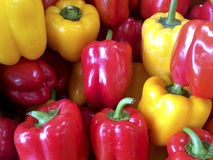 Close up view of green and red peppers at a market Stock Photography