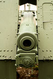 Close up view of a green vintage cannon from the first world war Royalty Free Stock Photo