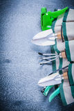Close up view on handbag with garden tools Royalty Free Stock Images