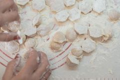 Close-up view of the hands taking homemade potstickers. Motion blur. Close-up view of the hands taking potstickers. Motion blur Royalty Free Stock Images