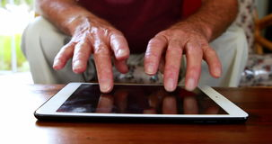 Close up view of hands using tablet pc stock footage