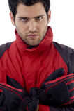 Close up view of handsome man in winter clothes Royalty Free Stock Photo