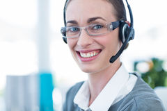 Close up view of happy businesswoman with headset Stock Images
