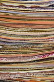 A close-up view of a heap of decorative carpet. Royalty Free Stock Image