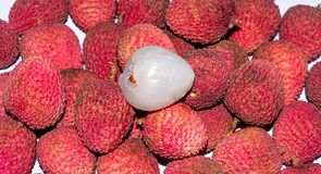 Close up view of a heap of fresh Lychee with a peeled Lychee on top royalty free stock image
