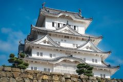 Close up View of Himeji Castle Keep in Japan. Himeji Castle is the most spectacular castle in all of Japan, also known as White Egret or White Heron Castle due stock photography