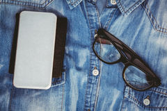 Close up view of hipster man stuff Stock Images