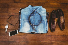 Close up view of hipster man stuff Stock Photography