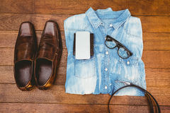 Close up view of hipster man stuff Stock Image