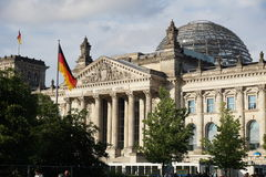 Close-up view of historic Reichstag (Deutscher Bundestag) building, seat of the German Parliament Royalty Free Stock Images