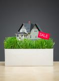 Close up view of home model with grass and sale tablet Stock Photo