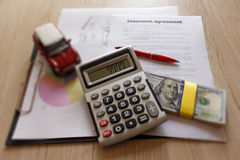 Close up view of the homeowner and car insurance policy. Insuran Royalty Free Stock Image