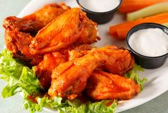 Hot Wings with Vegetables and Dip Stock Image