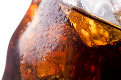 Close up view of the ice cubes in cola Royalty Free Stock Image