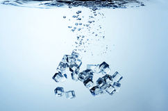 Close up view of the ice cubes in water Royalty Free Stock Photo