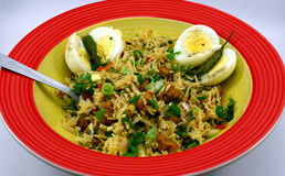 Close up view of Indian Pulav. It is a combination of rice, vegetables and/or meat. The Basmati rice is browned in oil and then mixed with vegetables, egg Stock Photos