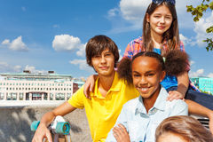 Close up view of international kids sitting Royalty Free Stock Photography