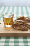 Close-up view of Cantucci and Vin Santo Stock Photography