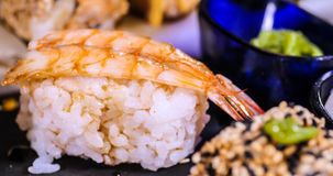 Close up view of an Japanese food: prawn sushi Stock Image