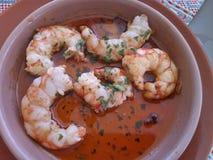 Jumbo Shrimp with garlic Royalty Free Stock Photo