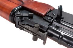 Close up view of kalashnikov assault rifle Royalty Free Stock Image