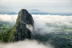 Close up view of Khao Nor with fog in the morning in Nakhon Sawan, Thailand. Beautiful close up view of Khao Nor with fog in the morning in Nakhon Sawan stock photography