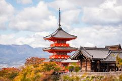Close up View of Kiyomizu-dera temple buildings filtered from autumn leaves in Kyoto, Japan. Close up view looking through the autumn leaves to the iconic stock images
