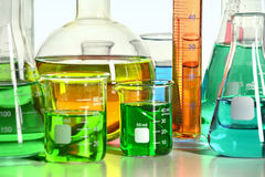 Close Up View of laboratory Glassware Stock Photo
