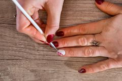 Lady hands with beautiful dark cherry manicure. stock images