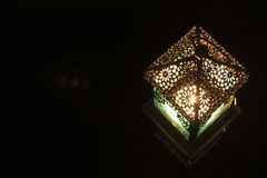 Close-up view on lantern in a dark background Stock Image