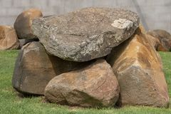A Rock Feature. A close up view of large rocks that have been placed ontop of each other to make a outdoor feature stock photography
