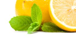 Close up view of lemons with melissa Royalty Free Stock Photos