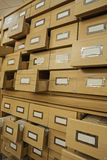 Close up view on library wooden card catalog with opened crates Stock Images