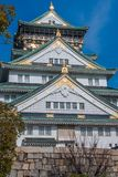 Osaka Castle. Close up view, looking up at Osaka Castle Royalty Free Stock Image