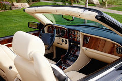 Close-up view of luxury car's interior with hi-tech dashboard Royalty Free Stock Image