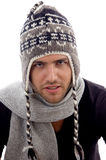 Close up view of male model wearing stylist cap Stock Photo