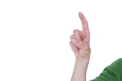 Close up view of man pointing something Stock Photo