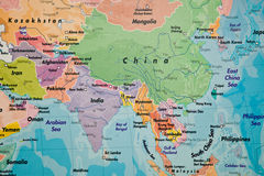 map of asia a close up view of a map of asia royalty free stock