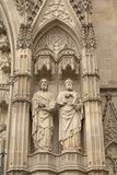 Close-up view of medieval statues (Barcelona) Royalty Free Stock Photography