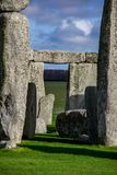 Close up view of middle part of Stonehenge monument. Daylight with blue sky. United Kingdom stock photos