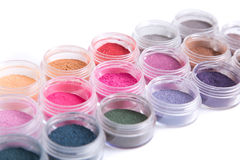 Close-up view of mineral eye shadows Royalty Free Stock Photo