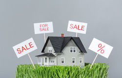 Close up view of model house for sale Royalty Free Stock Images