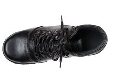 Man boot. Close up view of a modern black man boot isolated on a white background Royalty Free Stock Photos