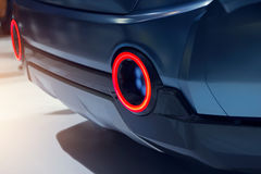 Close-up view of modern design sports car rear light. Royalty Free Stock Images
