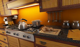 Close-up view of modern kitchen. 3d rendering close-up view of modern kitchen Stock Images