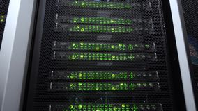 Close-up view of modern server. Data center green blink. Motion camera.  stock footage