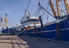 Close up view of moored fishing trawler. S at Oudeschild onTexel island stock image