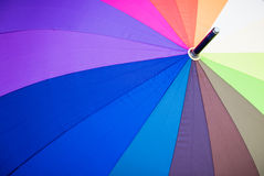 Close up view of multicoloured umbrella. Stock Images