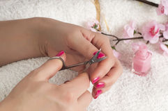 Nail treatment Stock Images